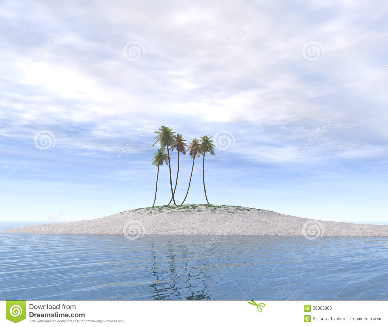 Deserted Island Beach: Deserted Island With Palm Trees Stock Illustration