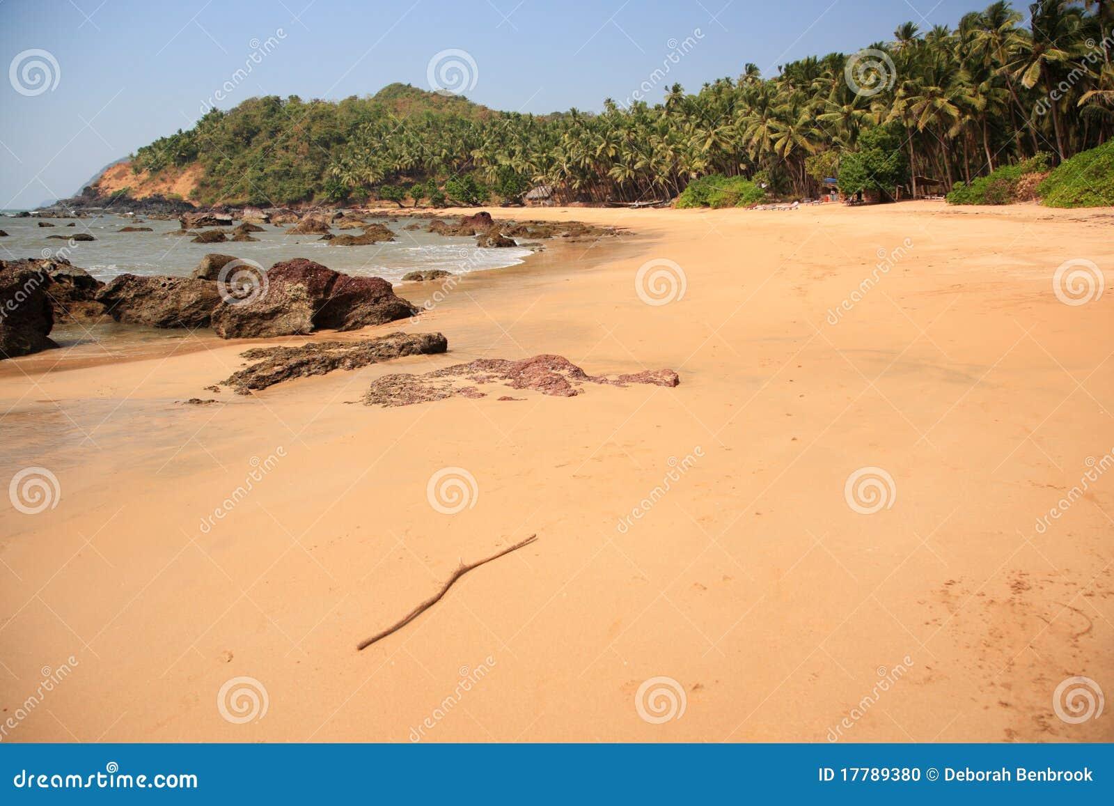 Deserted tropical beach in Goa