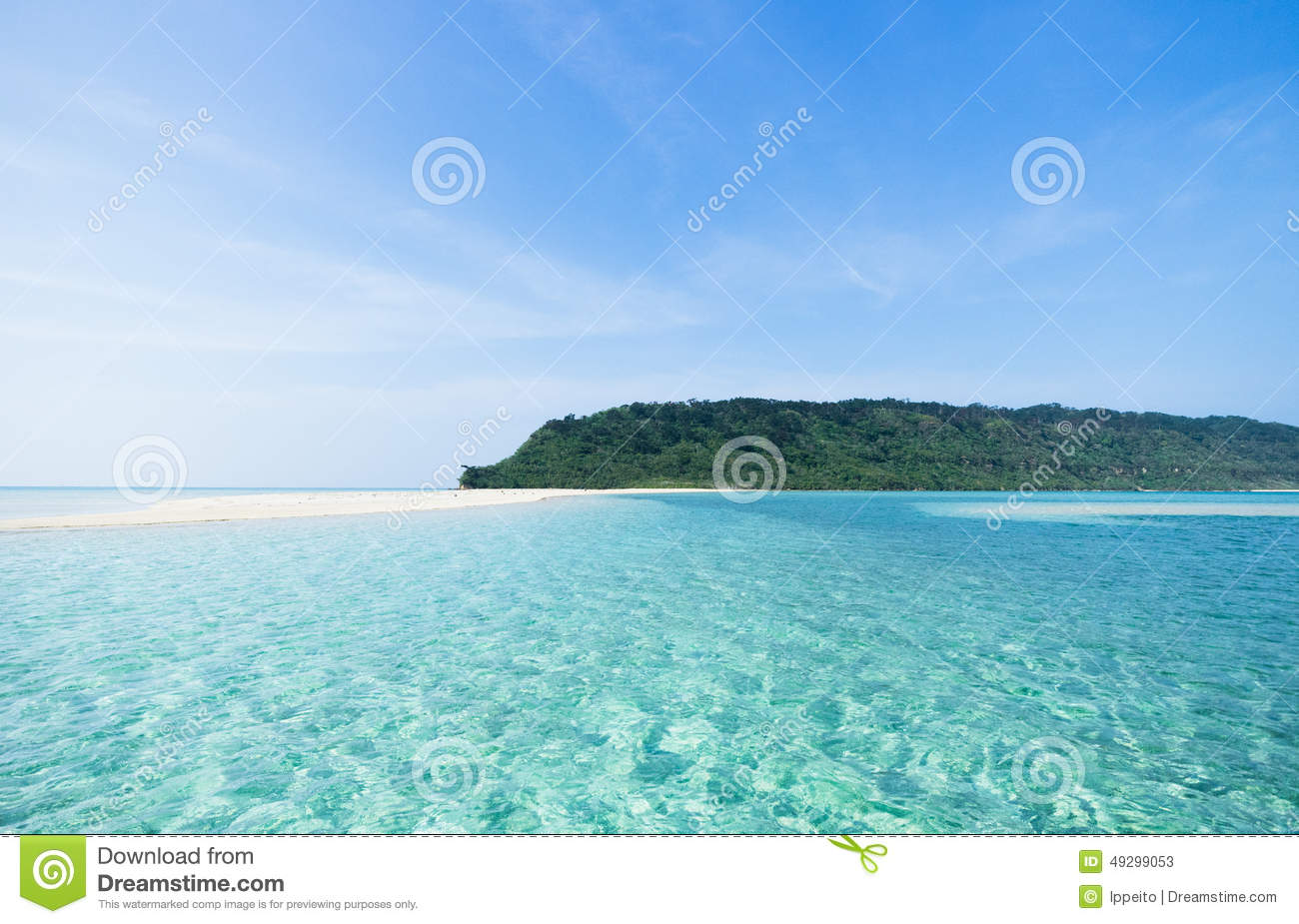 Deserted tropical island beach and clear blue water for Water in japanese