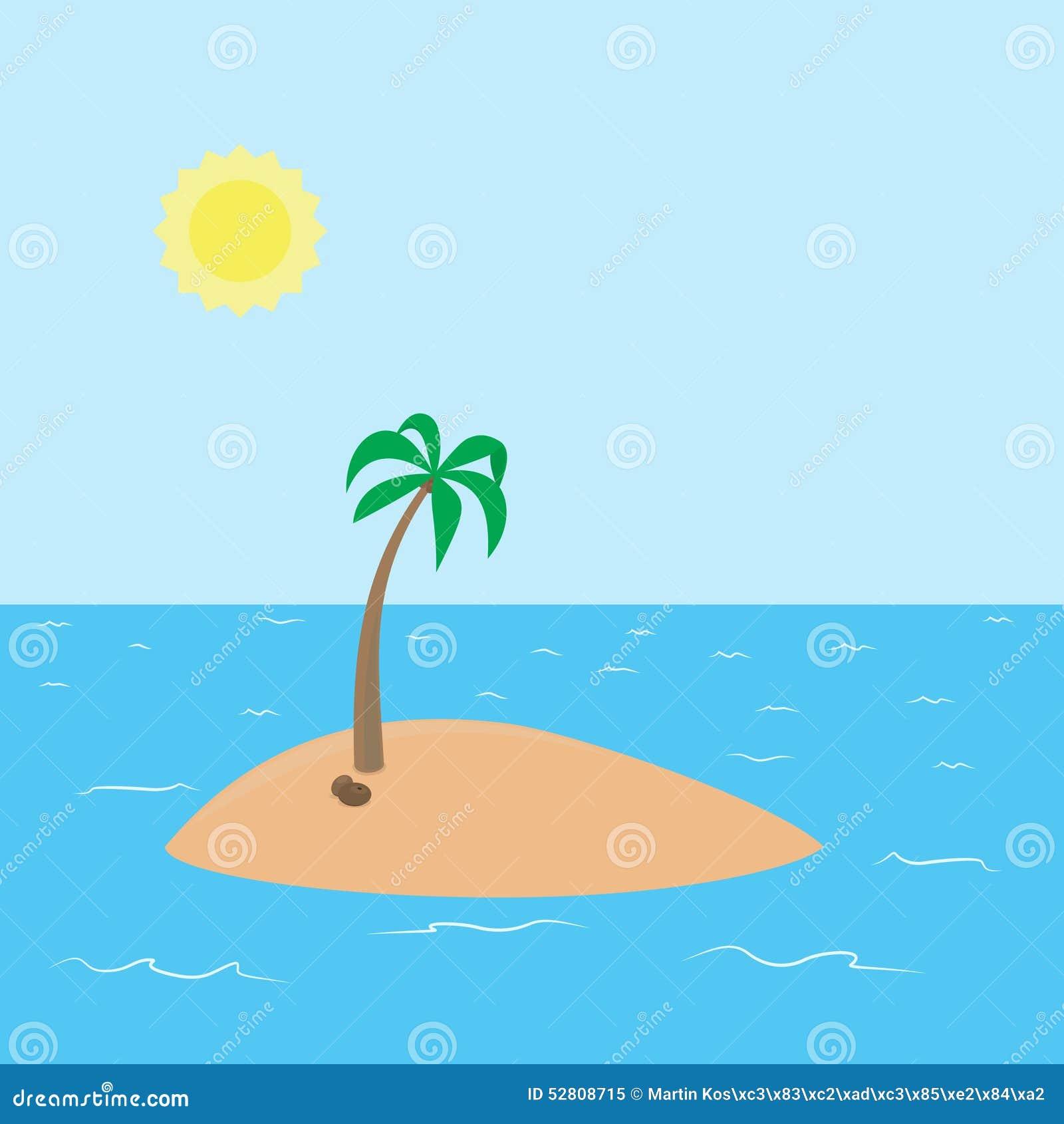 Deserted Island Beach: Deserted Tropical Island With Beach And Coconut Stock