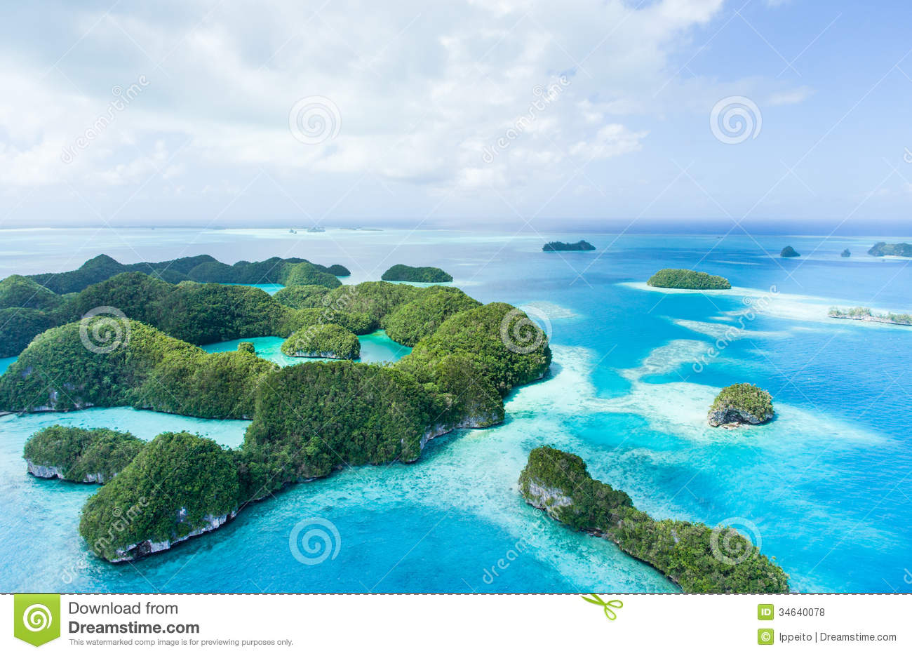 Deserted Tropical Paradise Islands Above Palau Aerial Image Clear Blue Water Coral Reefs Seventy Micronesia