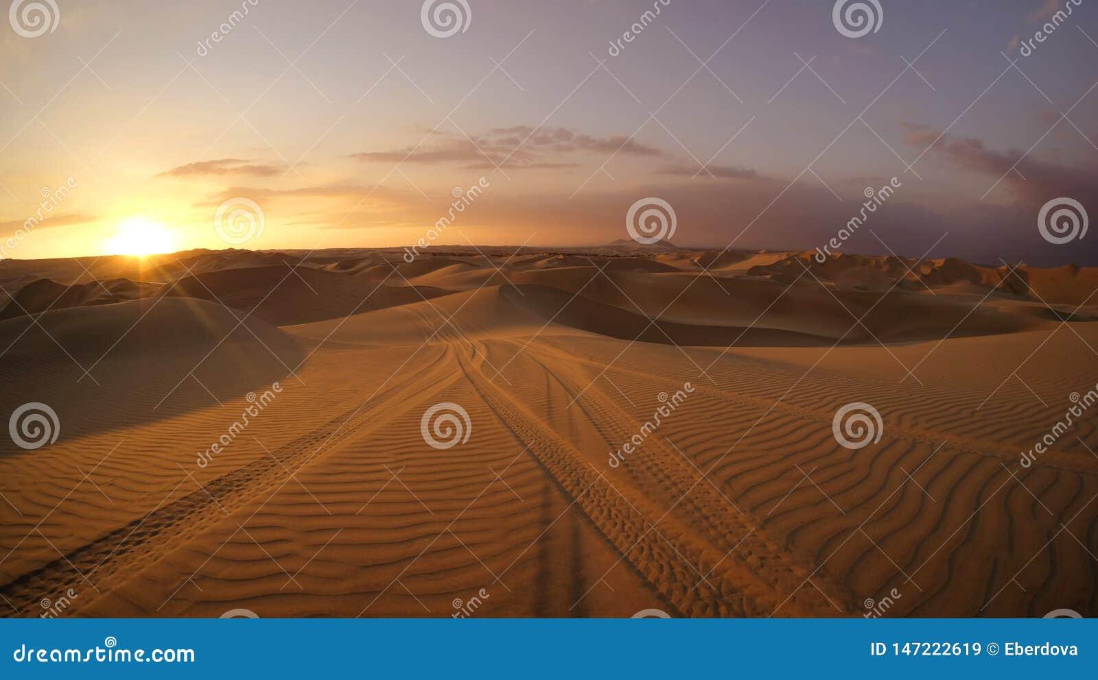 Deserto na hora do por do sol com as trilhas dos pneus do carrinho de duna na areia no primeiro plano