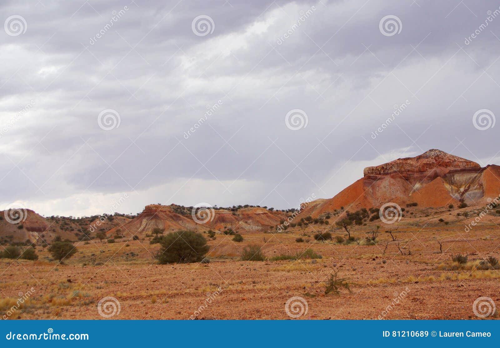 Deserto pintado durante uma tempestade da chuva