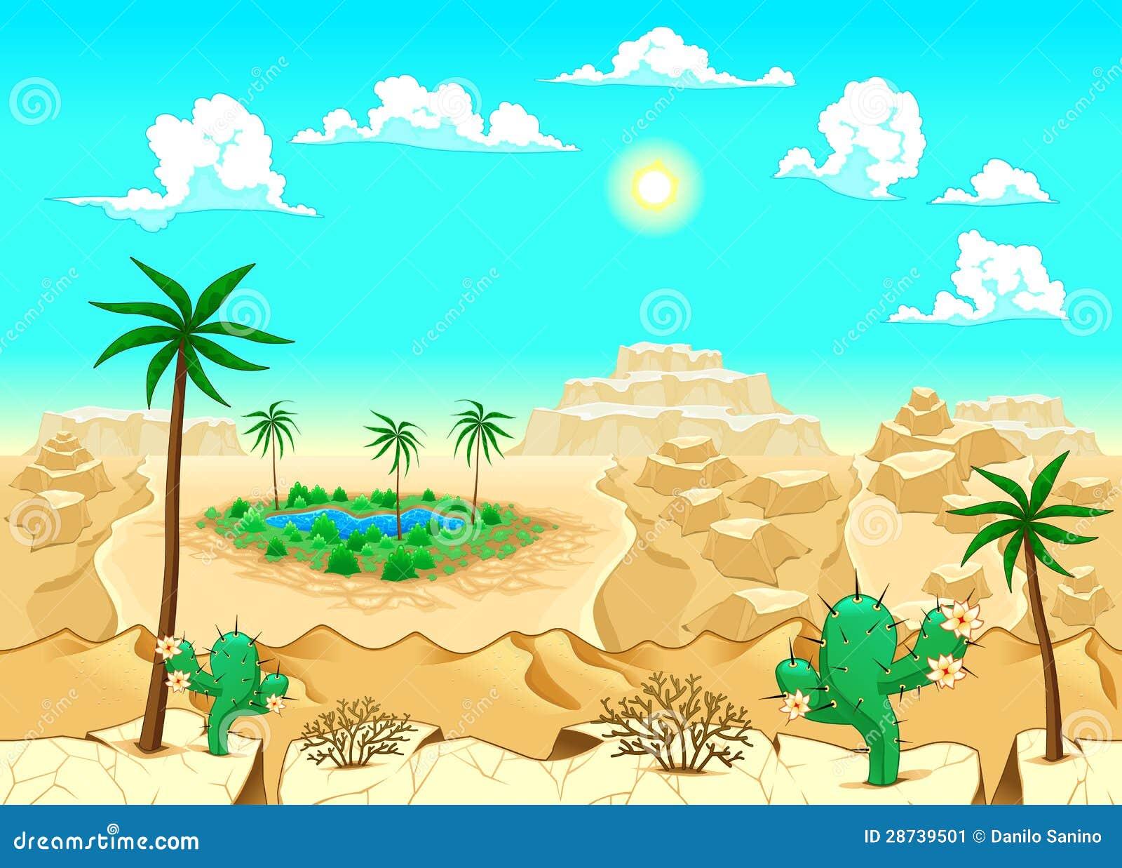 Desierto con el oasis.