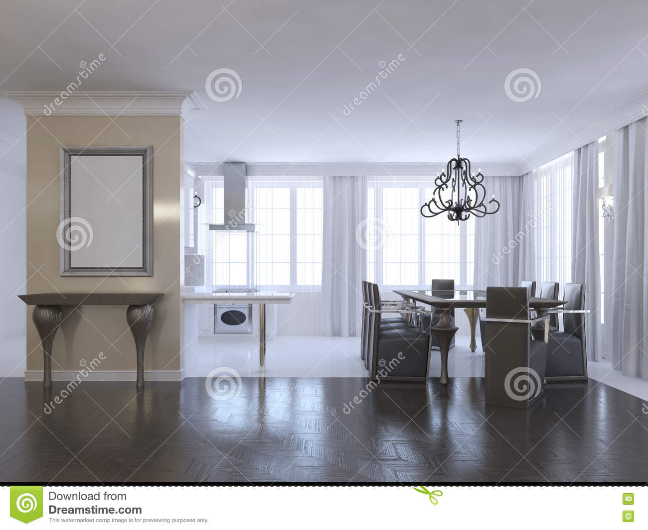 Design Art Deco Dining Room Decorated In A Minimalistic Style
