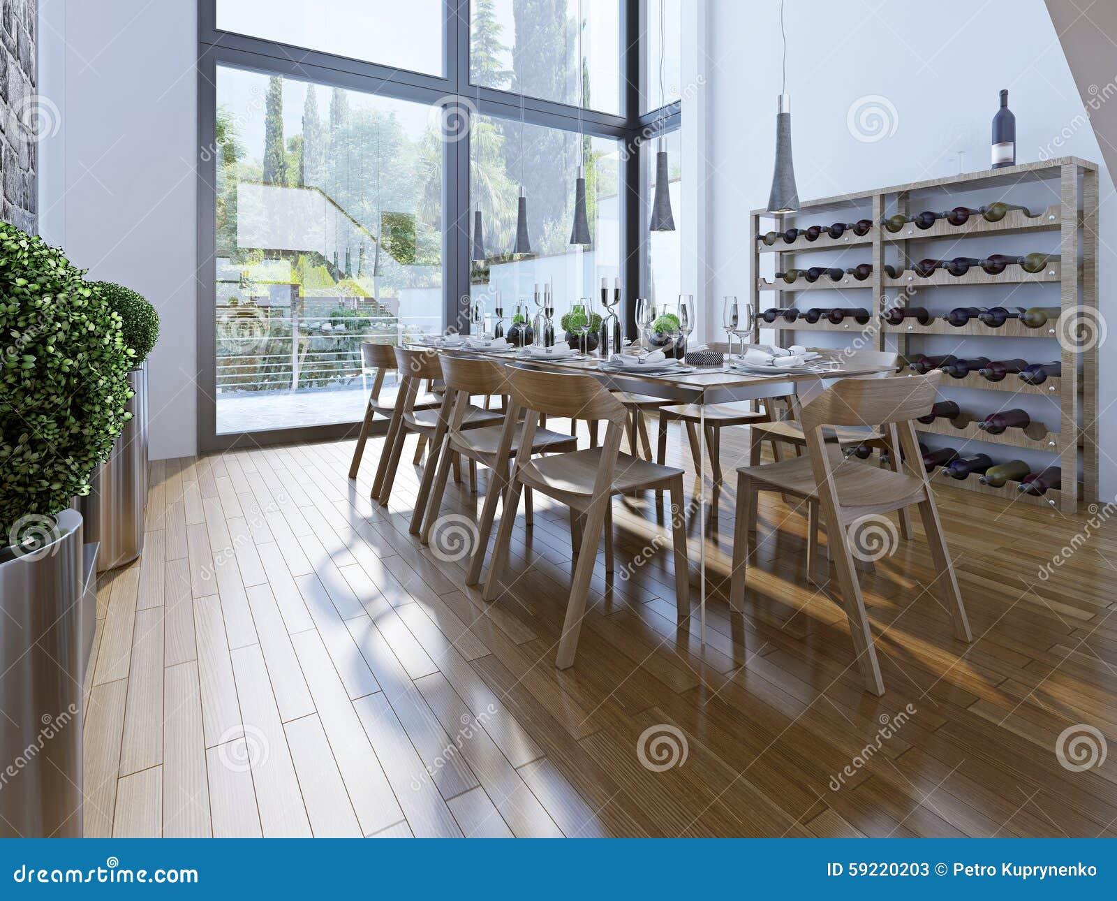 Design av matsal med brunt möblemang