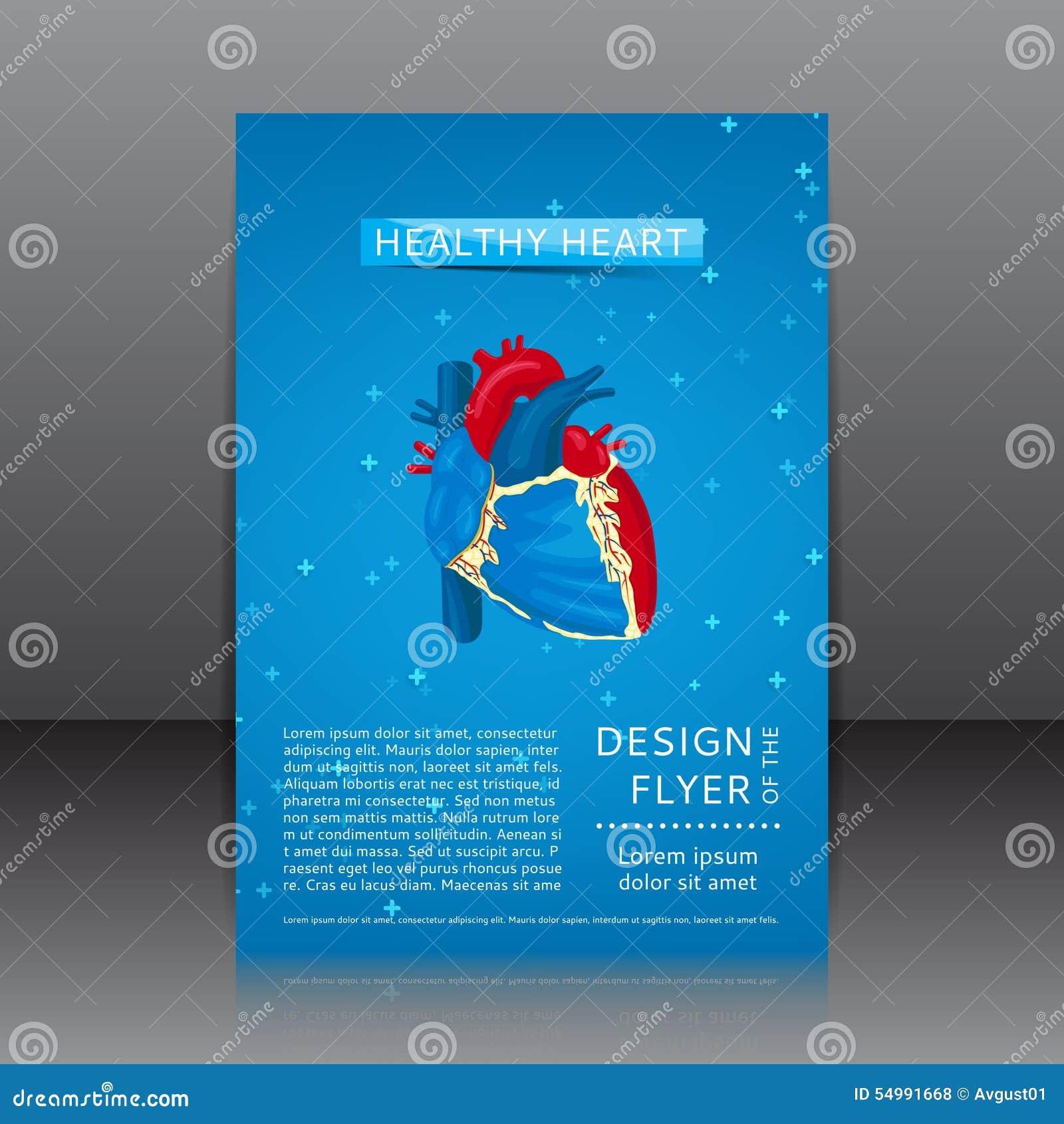 Design av reklambladet med sund hjärta