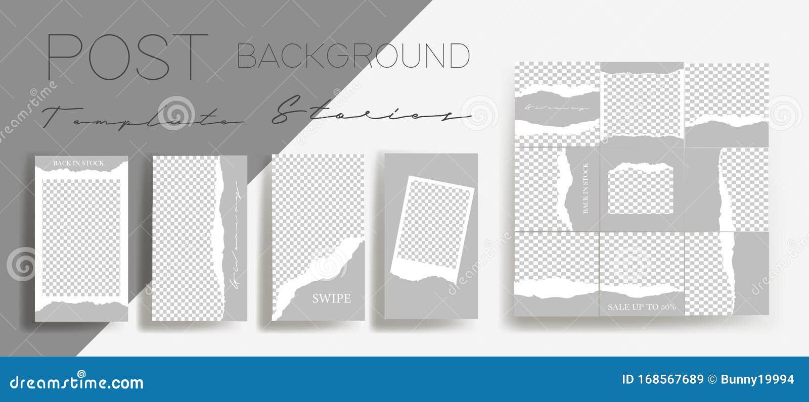 Design Backgrounds For Social Media Banner Set Of Instagram Stories And Post Frame Templates Stock Vector Illustration Of Application Bundle 168567689