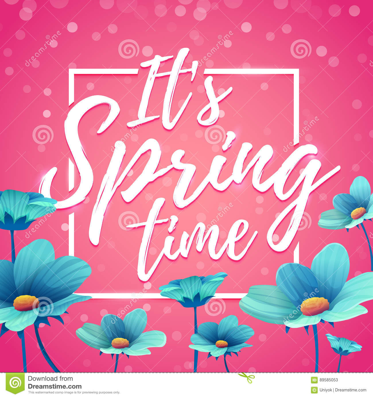 Design Banner It S Spring Time Flyer For Spring Season With Square