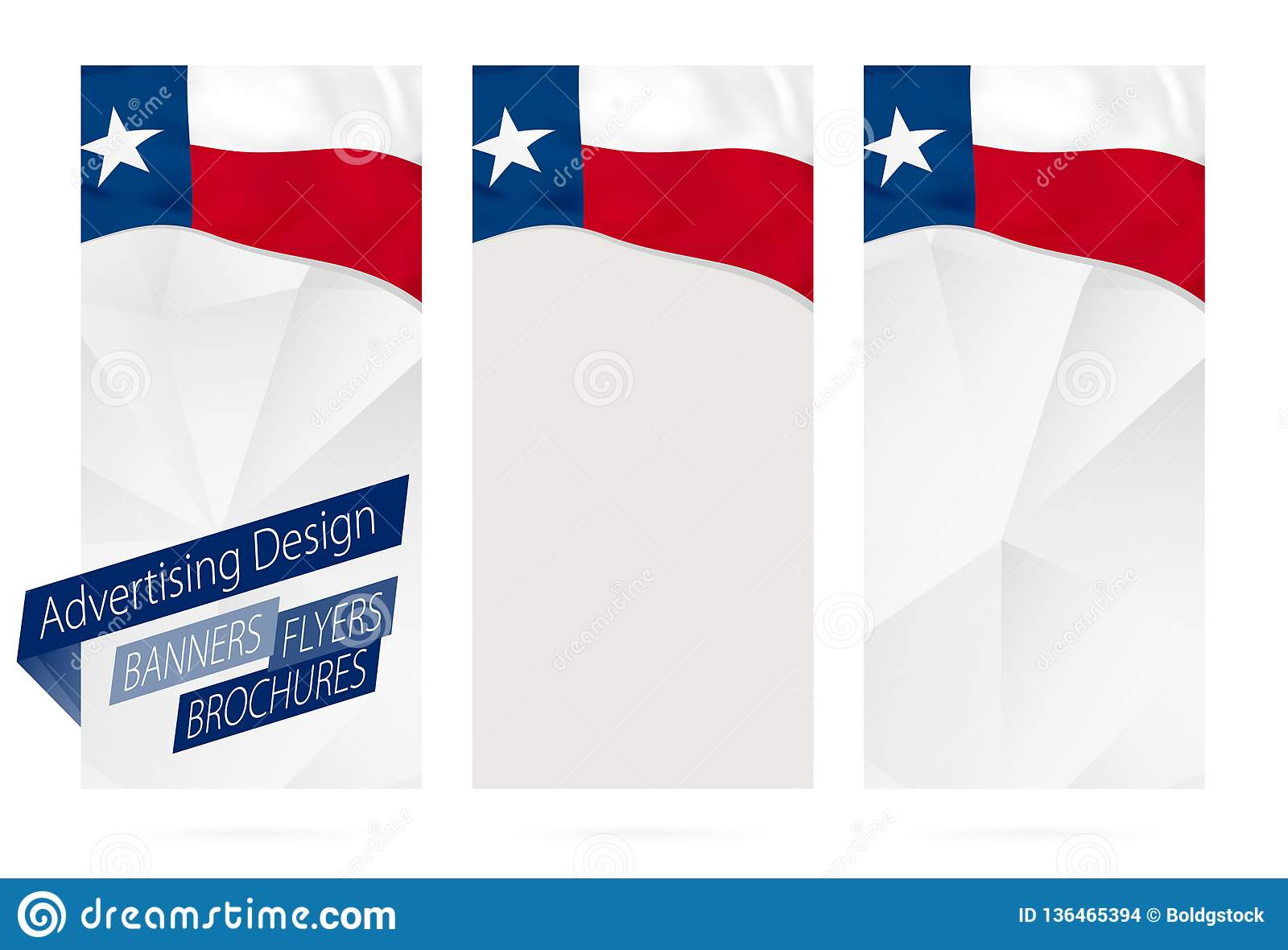 Design Of Banners, Flyers, Brochures With Texas State Flag Stock