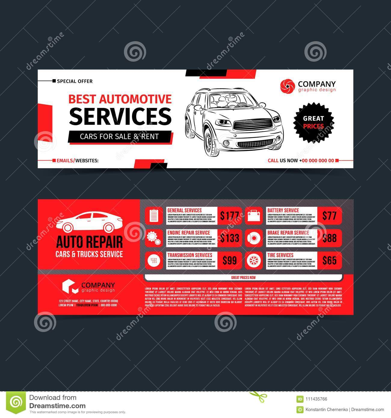 Design Of Banners. Set Of Auto Repair Cars Stock Vector ...