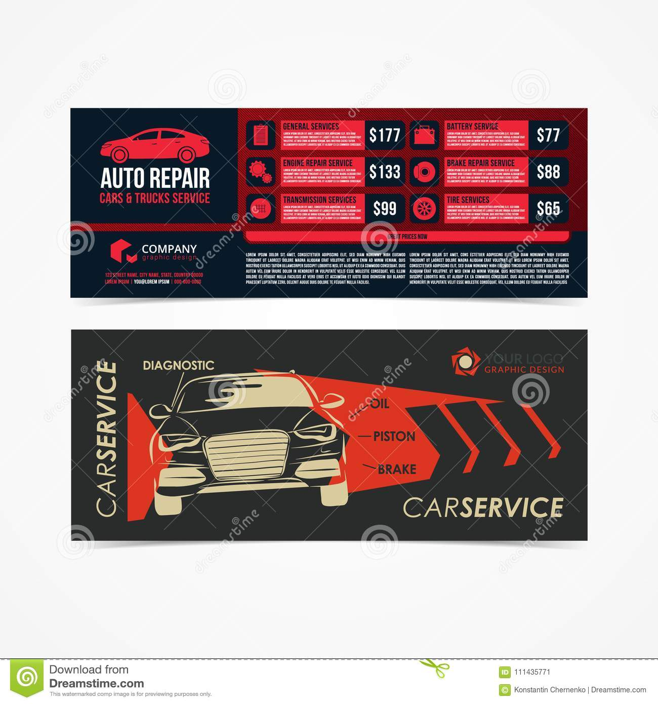 design of banners set of auto repair cars trucks service layout