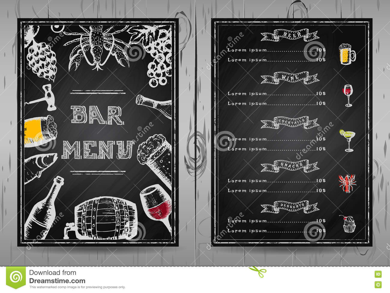 design bar menu, template restaurant menu stock vector