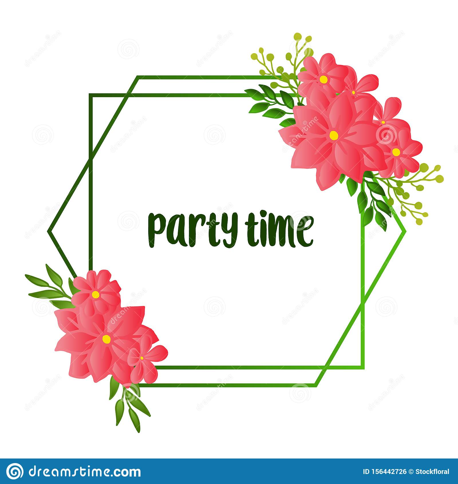 Design beautiful card of party time, line for artwork of green leafy flower frame. Vector
