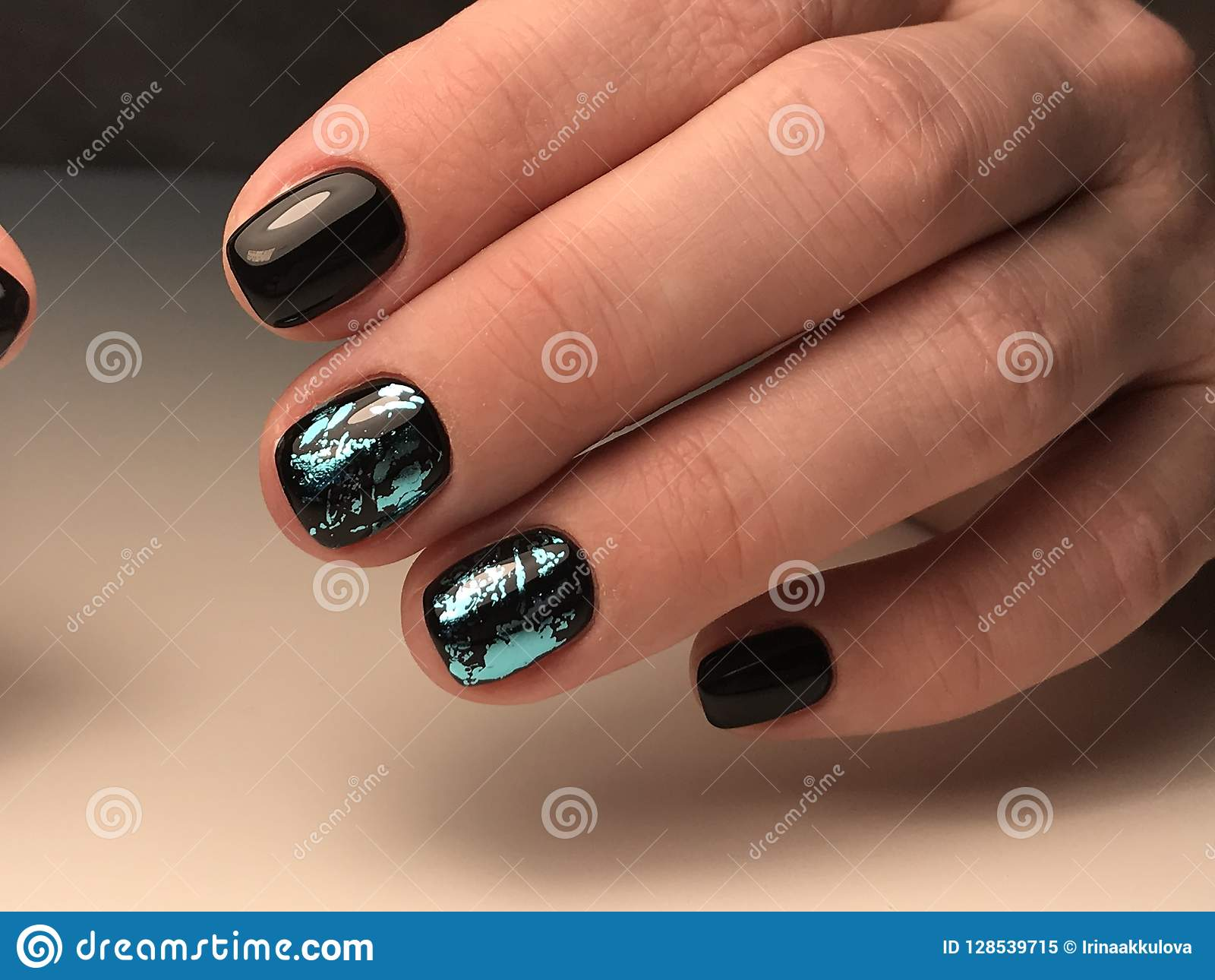 Design On Black Nail Gel Polish Stock Image , Image of style