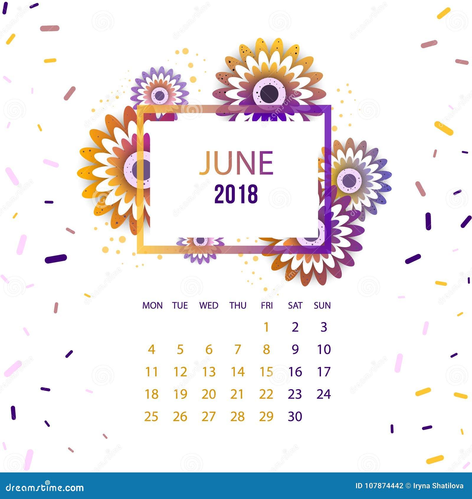design-blumenschablonen-kalender 2018 vektor abbildung