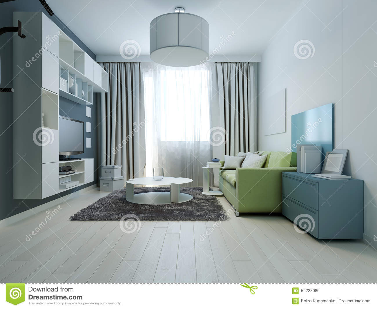 Design of bright colored living room kitsch style