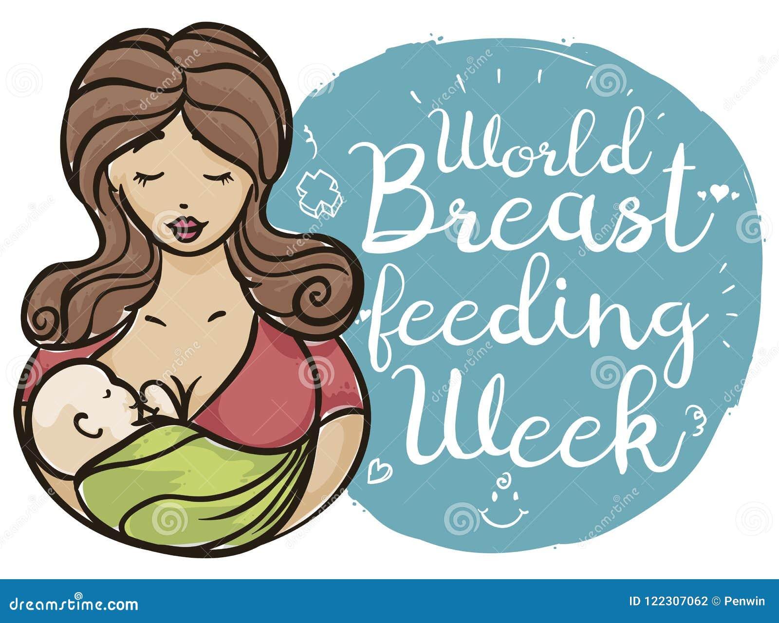 Mother Carrying her Baby in Brush Stroke Style, Celebrating Breastfeeding Week, Vector Illustration