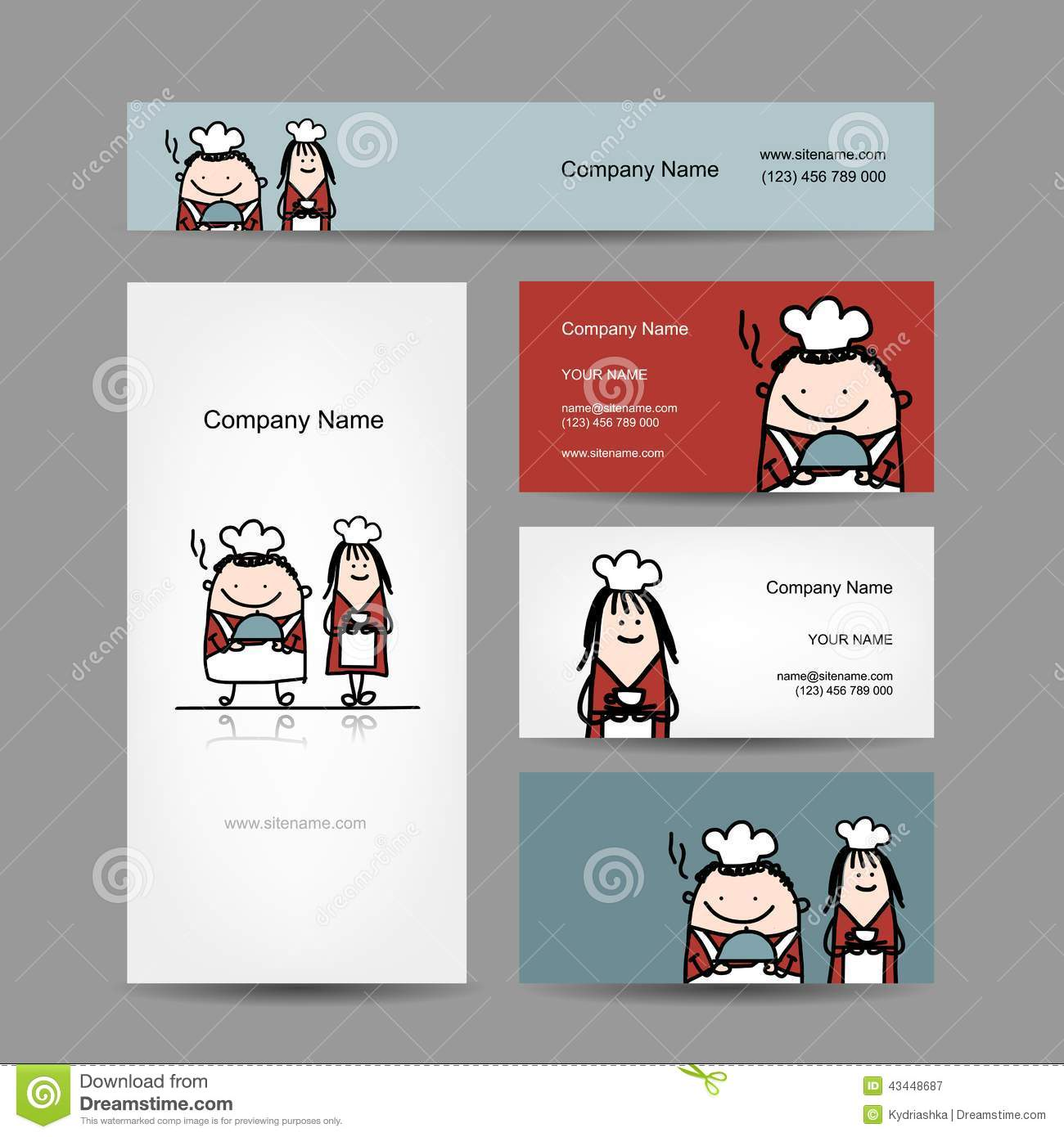 Design Of Business Cards With Chef Cook Cartoon Stock Vector ...