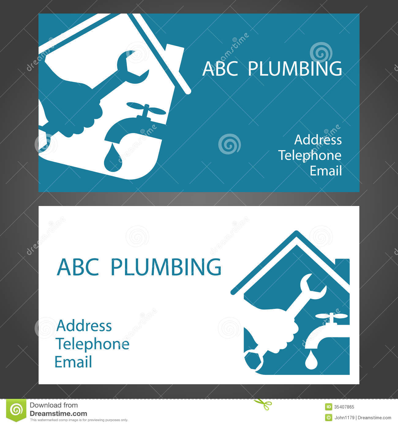 ... Business Cards For Plumbers Royalty Free Stock Photo - Image: 35407865