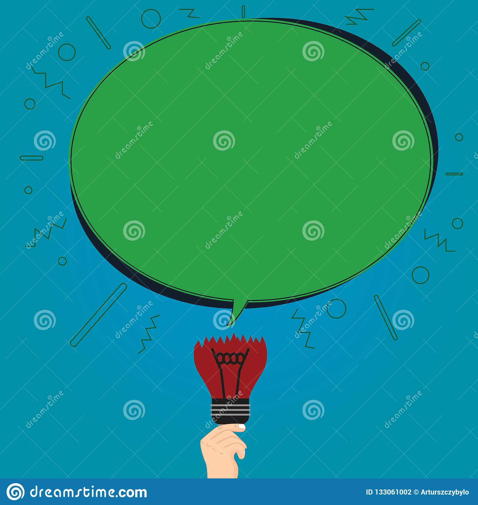 Design business concept Empty copy space modern abstract background Blank Oval Color Speech Bubble Above a Broken Bulb