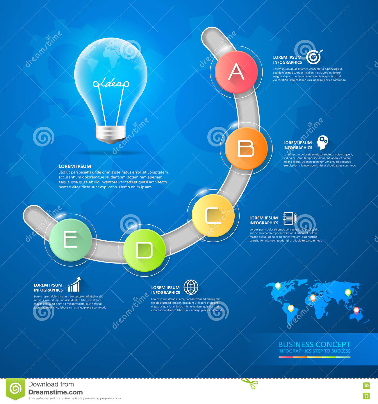 Design Business Idea Lightbulb Conceptual Infographics Stock Vector Diagram Of Incandescent Light Bulb