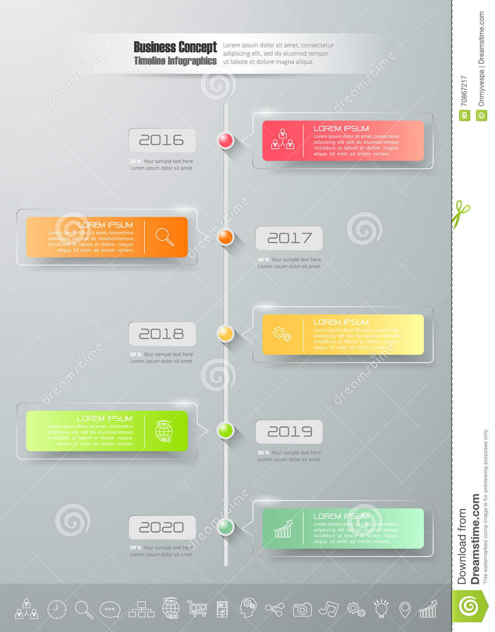 Design Business Timeline Infographic Template 5 Steps,. Mission, Info.