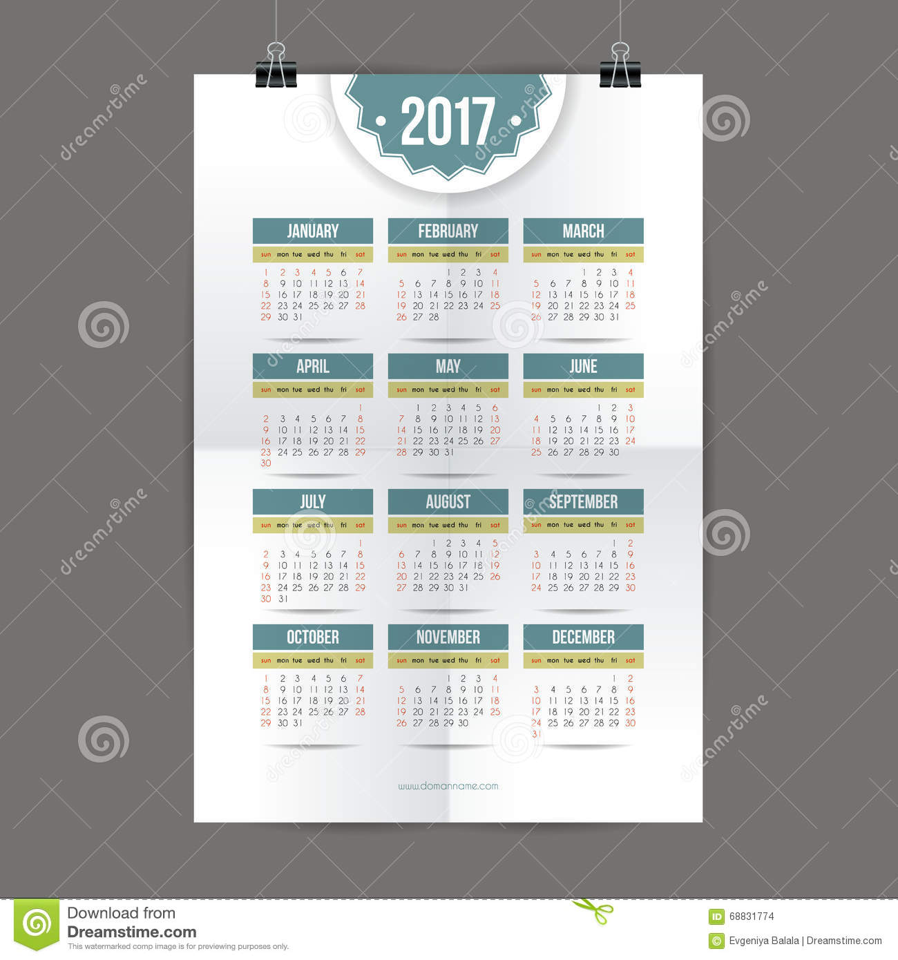 Design For Calendar 2017. English Or American System. Sunday Start. Stock Vector