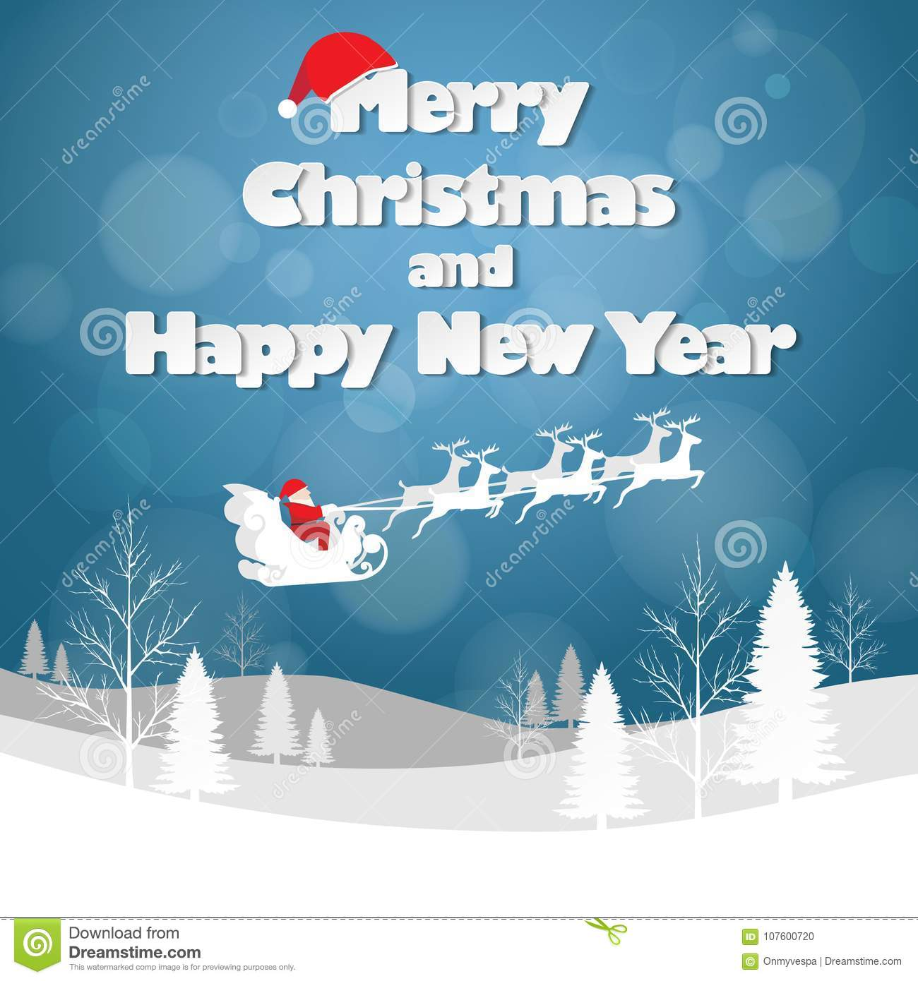 Design Christmas Greeting Card And Happy New Year Message Stock