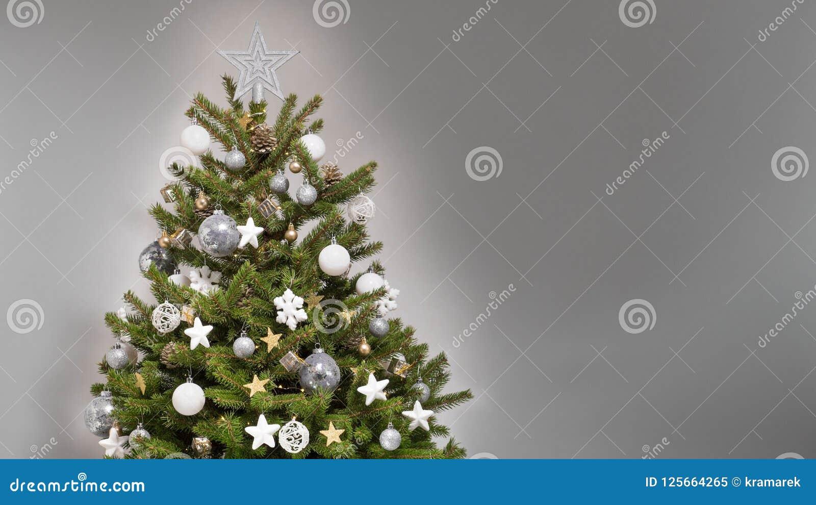 White And Silver Christmas Tree Theme.Design Christmas Tree With White Silver And Golden