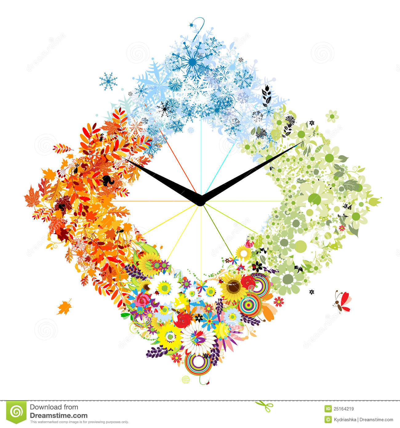 Design of clock four seasons concept royalty free stock for 4 seasons decoration