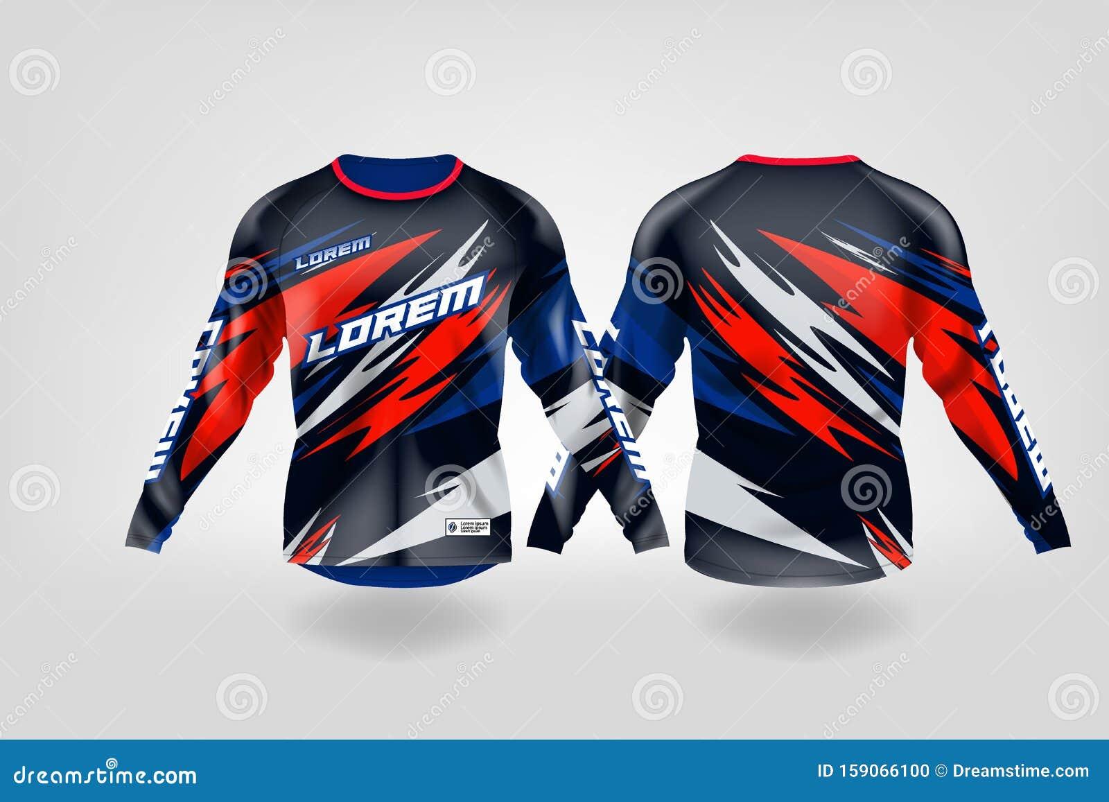 T Shirt Sport Design Template Long Sleeve Soccer Jersey Mockup For Football Club Uniform Front And Back View Motocross Jersey Mt Stock Illustration Illustration Of Back Mens 159066100