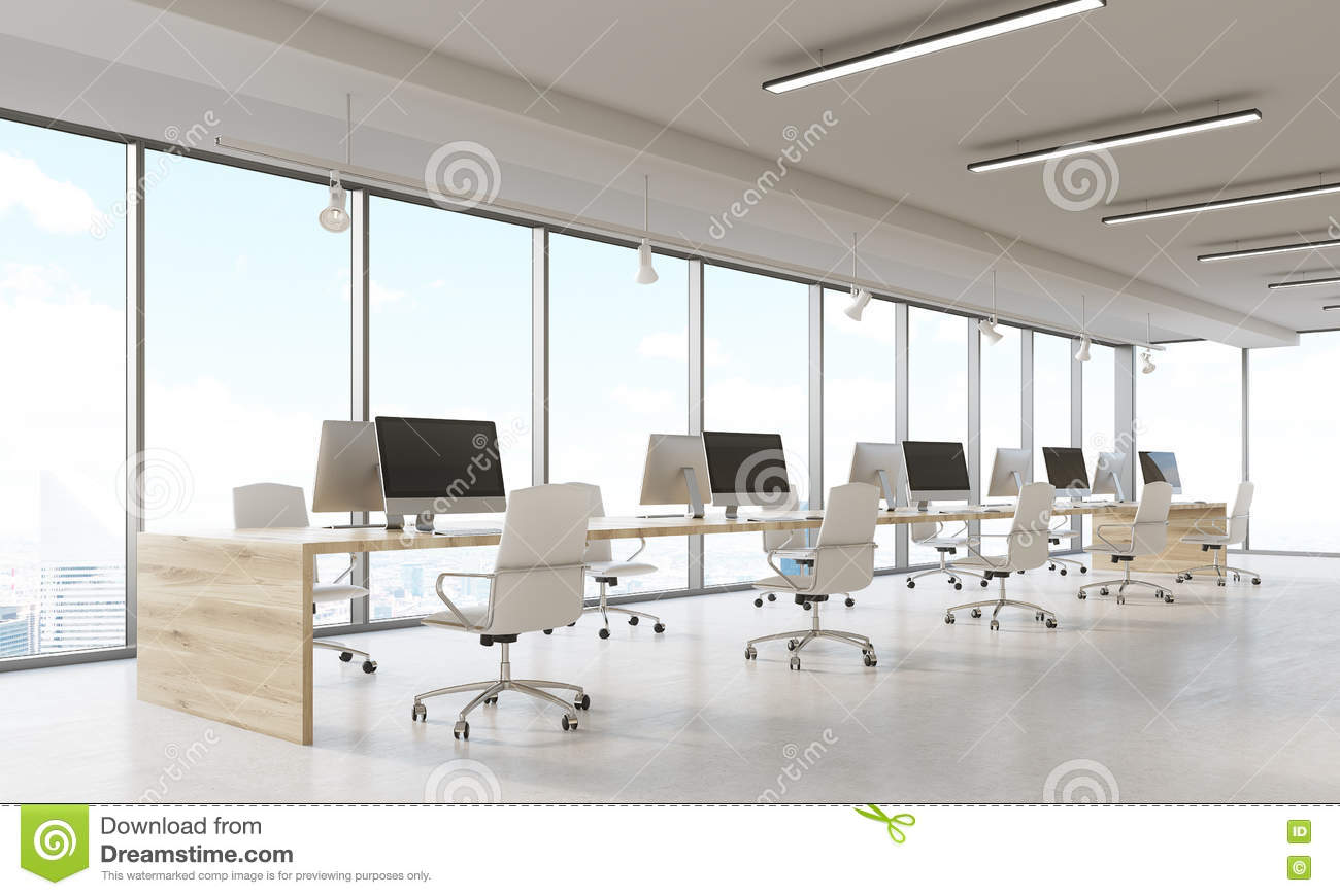 Interior Designers Working Conditions design company interior in skyscraper stock illustration - image