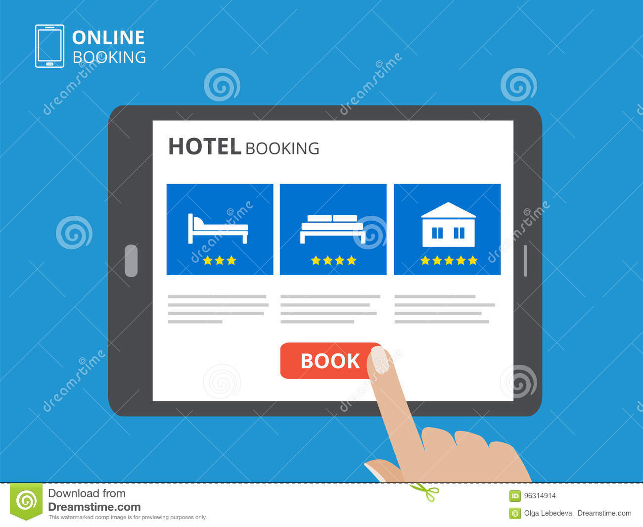 Design concept of hotel booking online. Tablet computer with hand touching a screen. Display