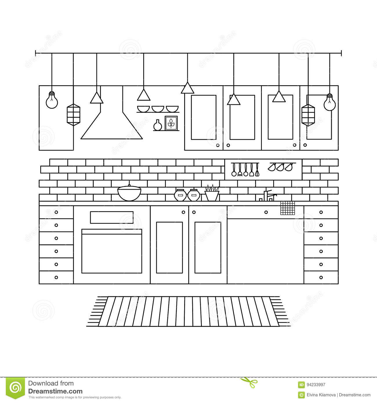 Design Concept Of Minimalist Modern Kitchen Set Stock Vector
