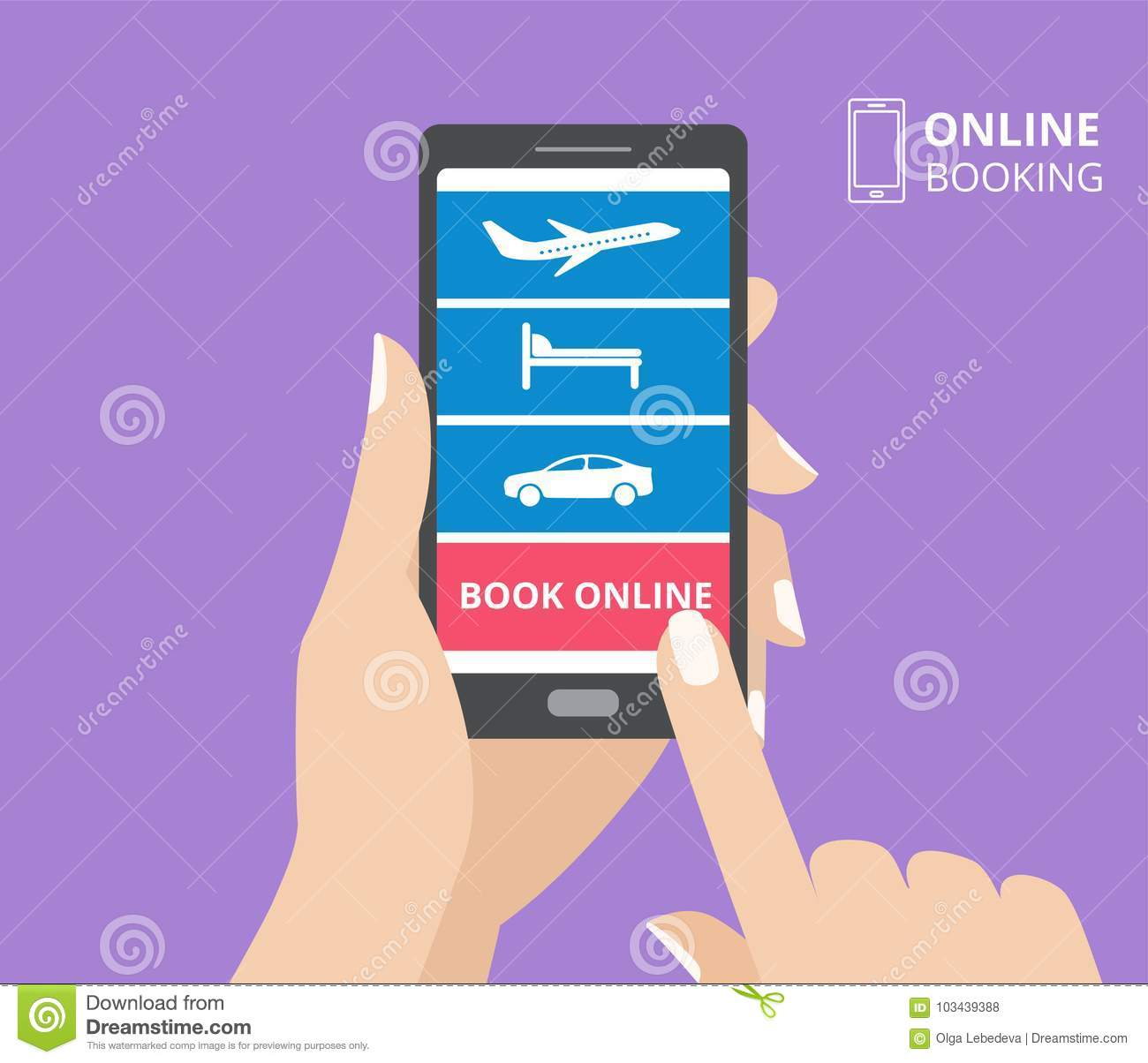 Hand Holding Smartphone With Icons Of Hotel, Flight, Car