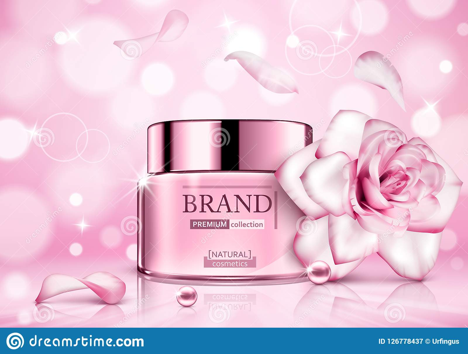 Design cosmetics product advertising with rose for catalog, magazine. Vector design of cosmetic package.