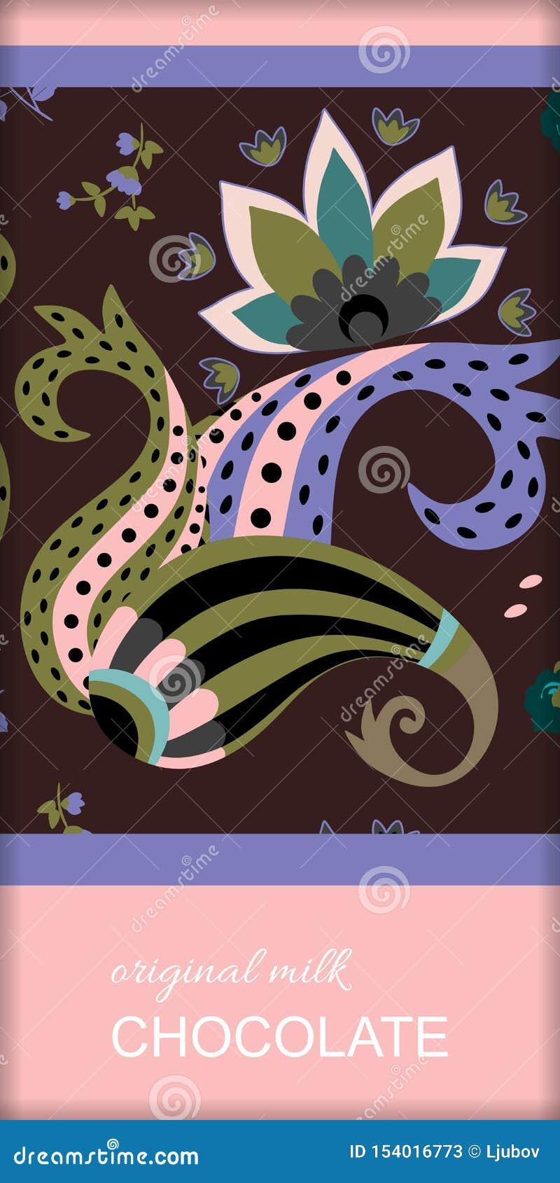 Design d emballage de barre de chocolat avec l ornement ethnique de Paisley et la fleur abstraite Calibre de empaquetage editable