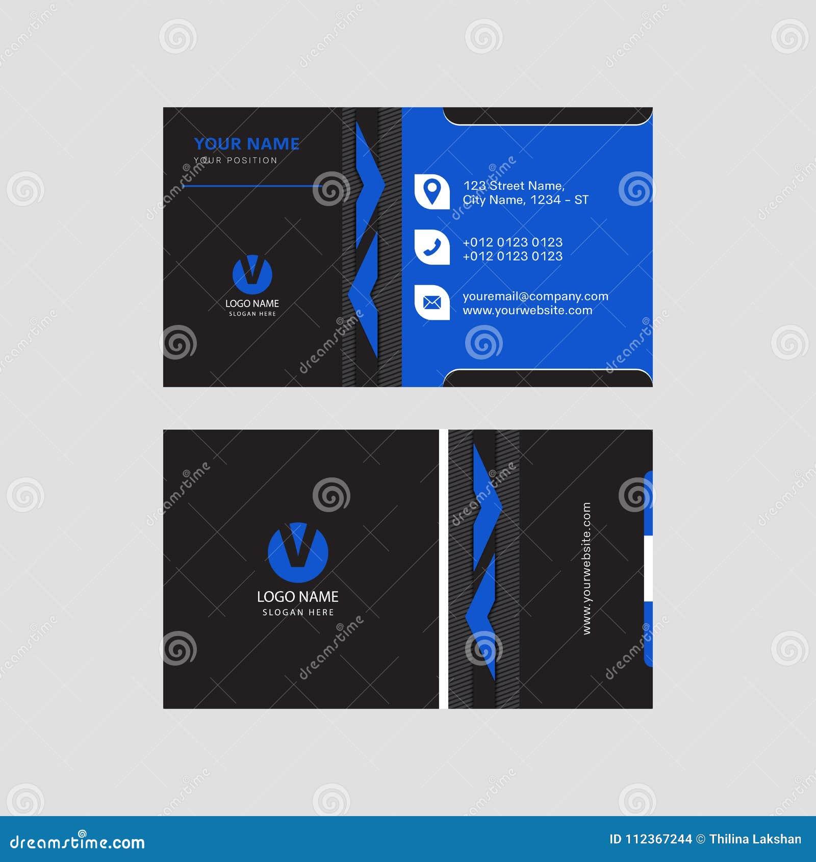 Design De Carte Bleu Et Noir Moderne Professionnel D Invitation Visite Professionnelle
