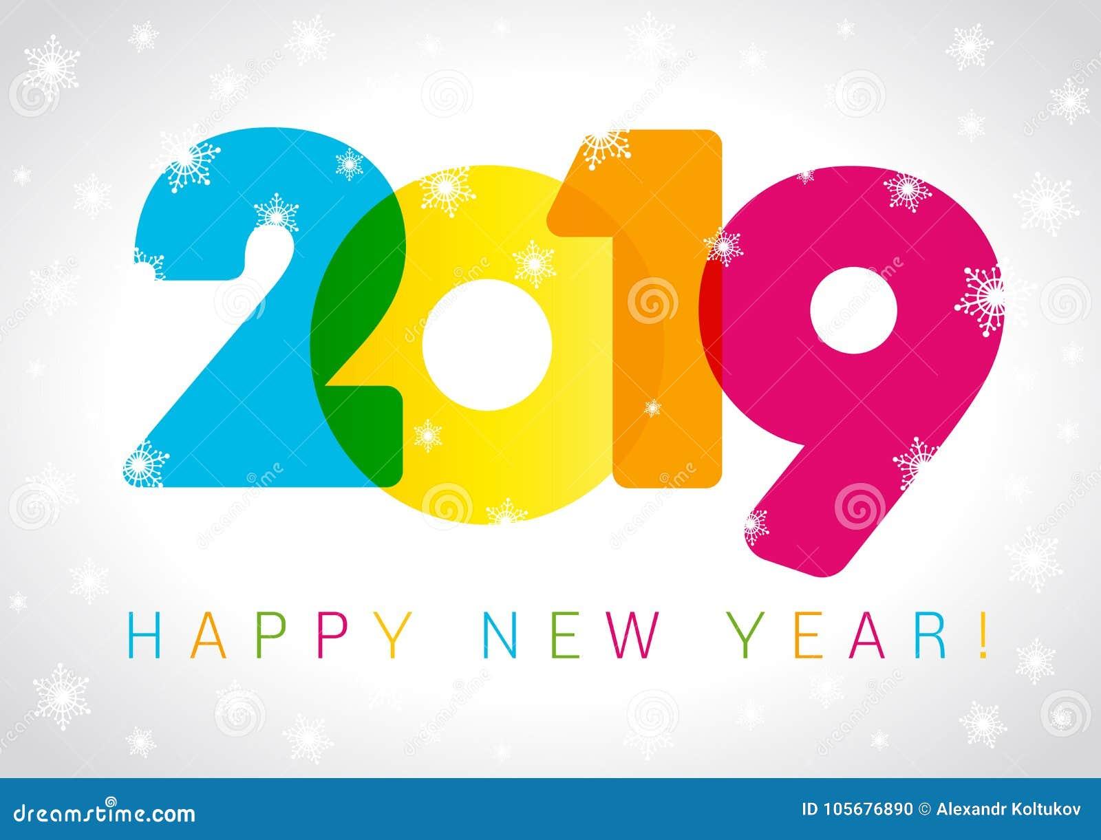 Design de carte de 2019 bonnes années