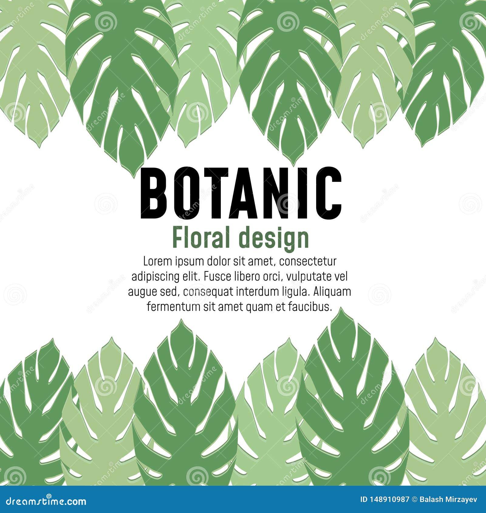 Design de carte botanique d affiche de verdure florale