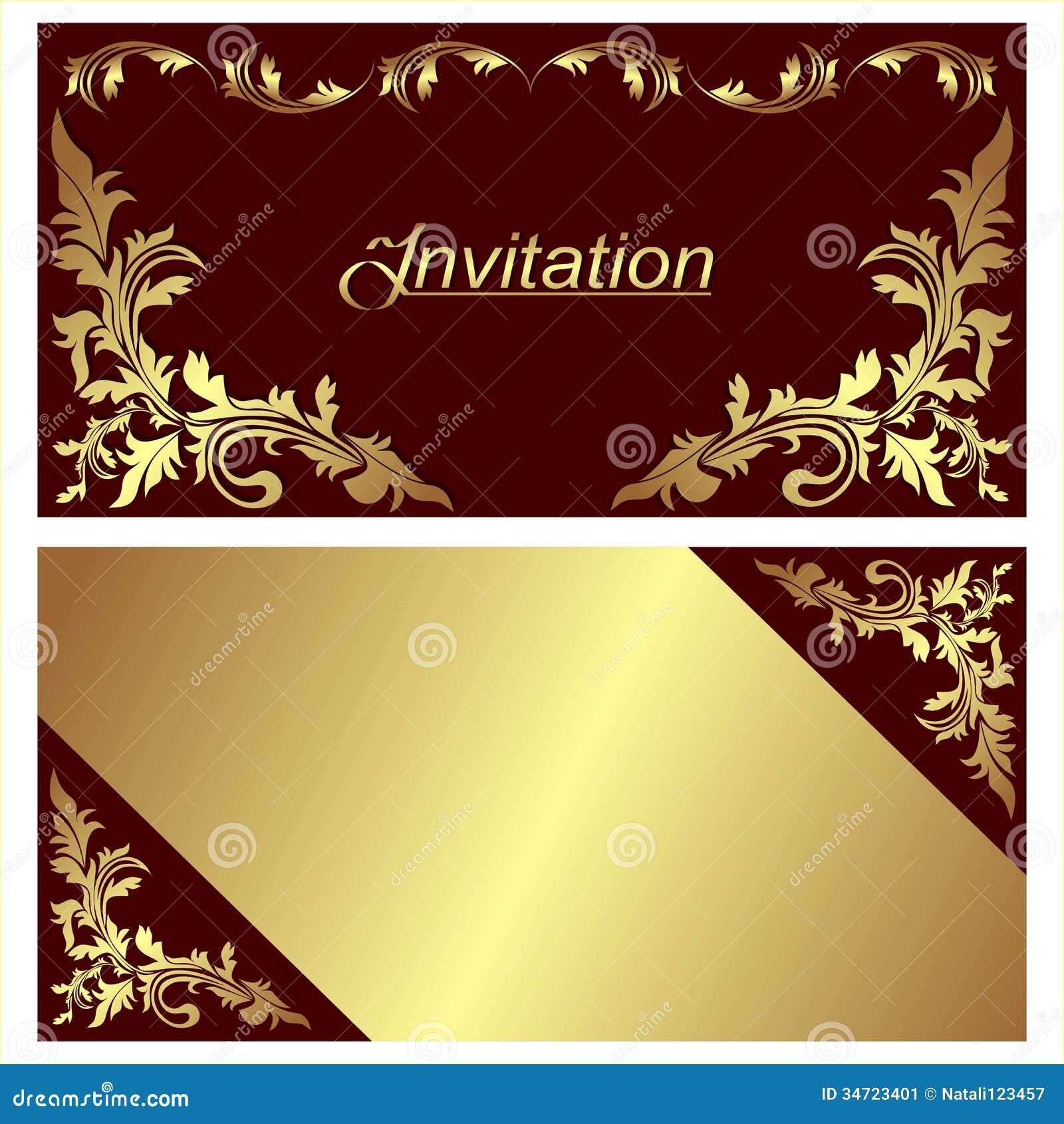 Design De Carte D Invitation Avec Les Fronti 232 Res D Or
