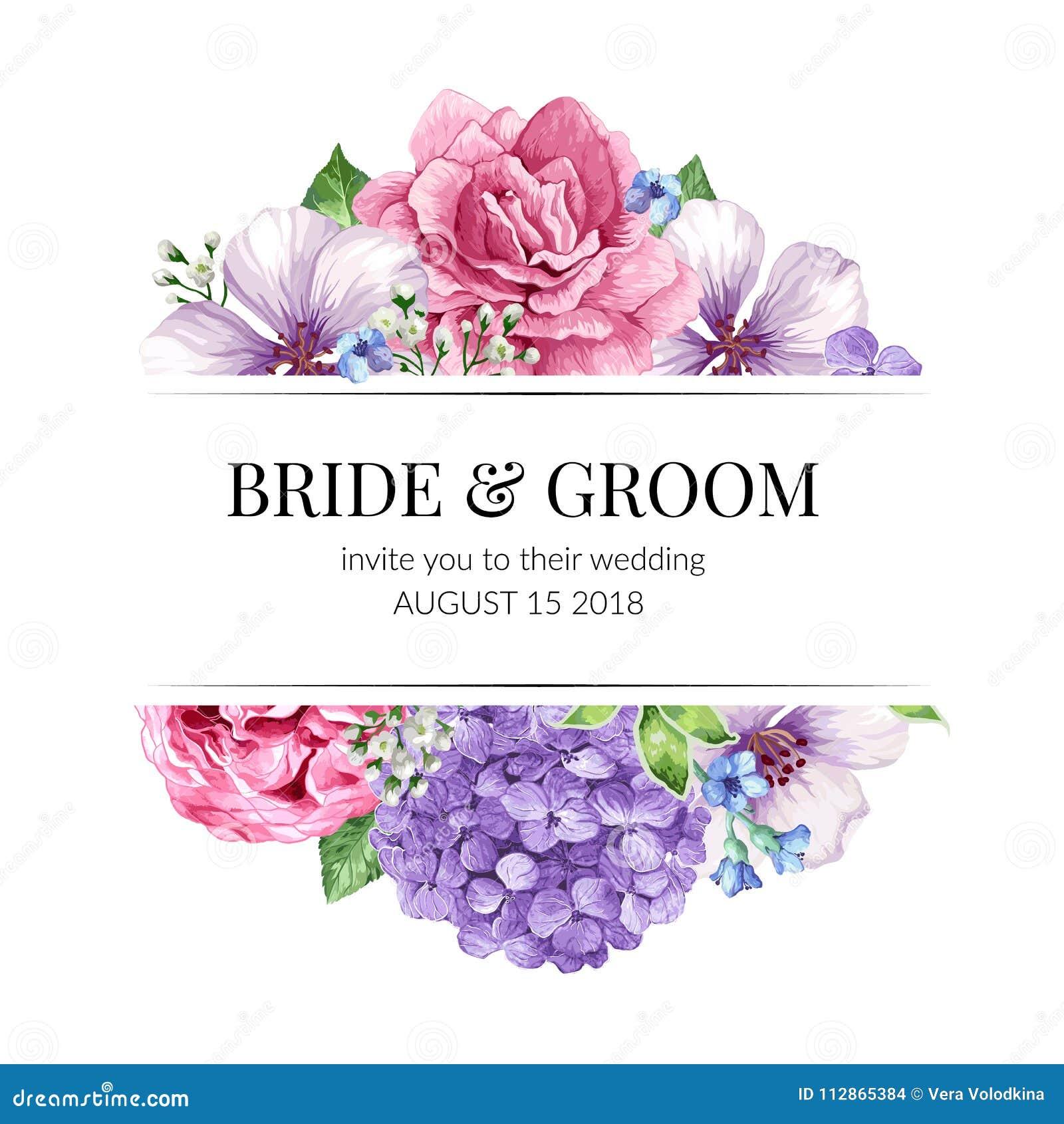 Design De Carte D Invitation De Mariage Avec Des Fleurs Dans Le