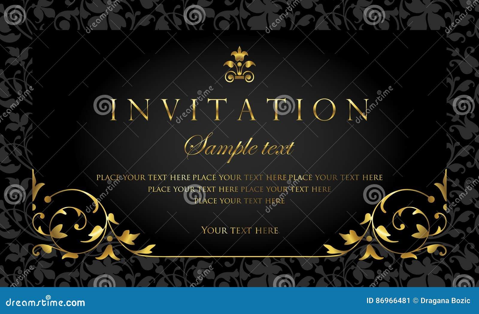 Design De Carte Dinvitation Style De Luxe De Vintage De Noir Et D