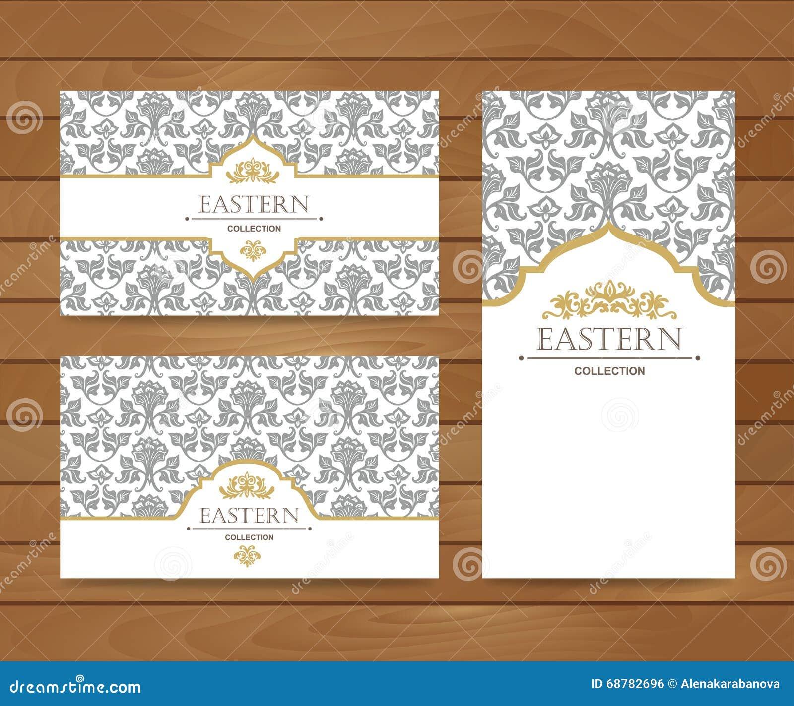 Design De Carte Vintage Pour La Voeux Invitation Banniere Visite Professionnelle Ensemble Retro Fond Oriental