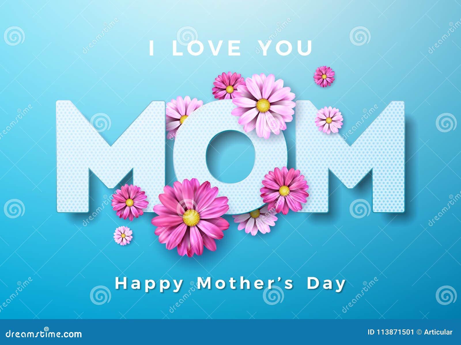 Design de carte heureux de salutation de jour de mères avec la fleur et je t aime éléments typographiques de maman sur le fond bl
