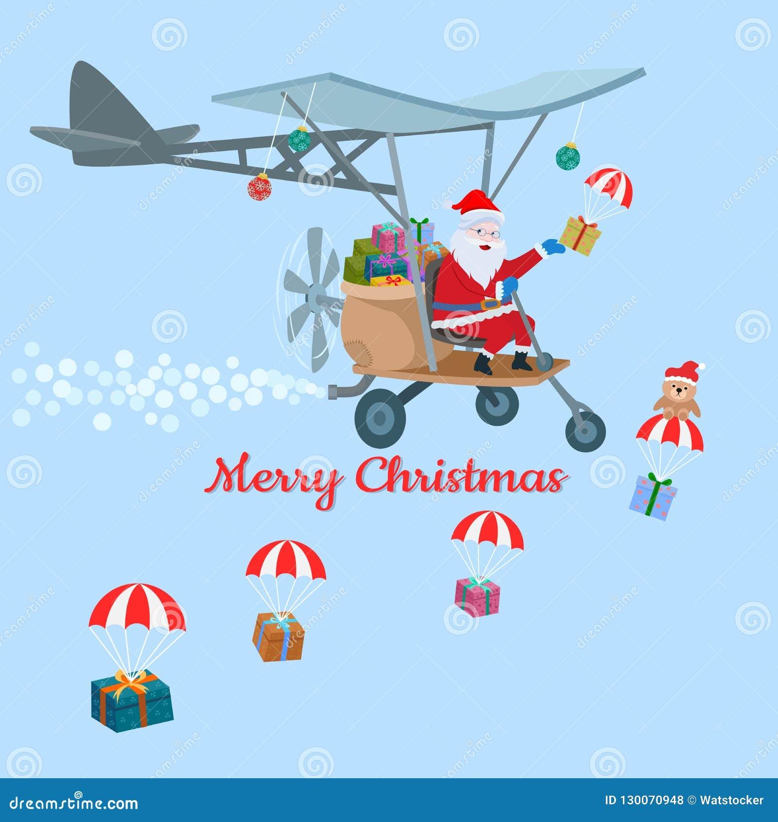 Design De Carte Le Père Noël De Noël Sur L'avion Illustration de