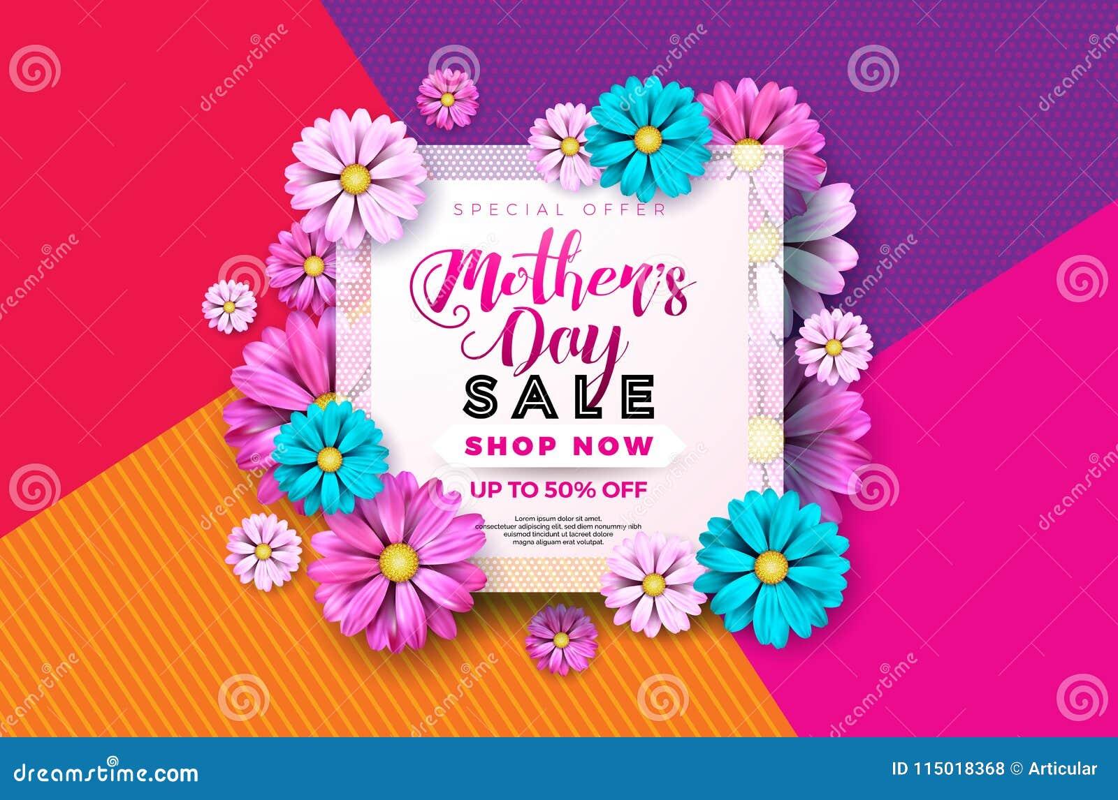 Design de carte de salutation de vente de jour de mères avec la fleur et éléments typographiques sur le fond abstrait Célébration