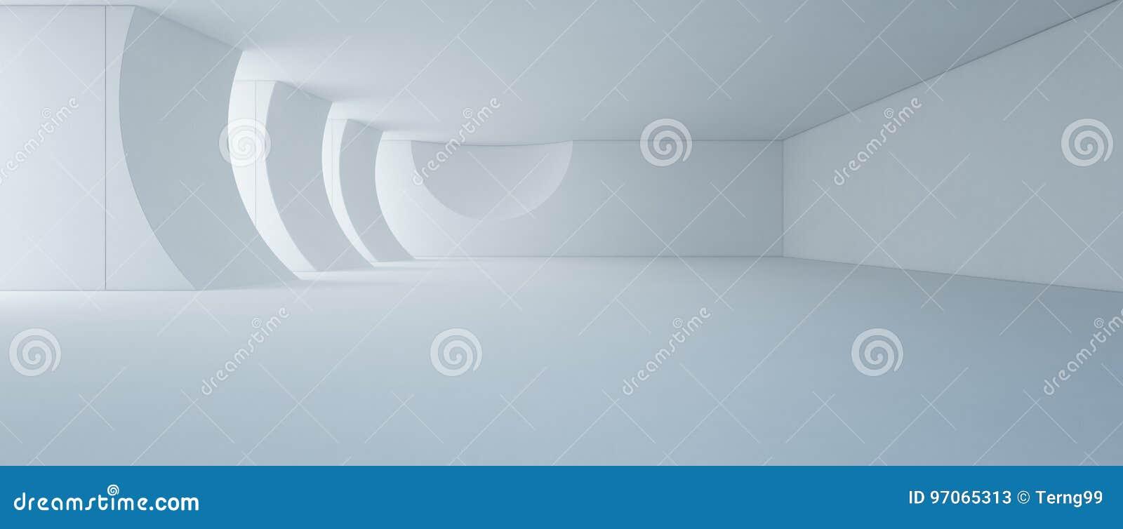 Design de interiores abstrato da sala de exposições branca moderna com fundo vazio do assoalho e do muro de cimento