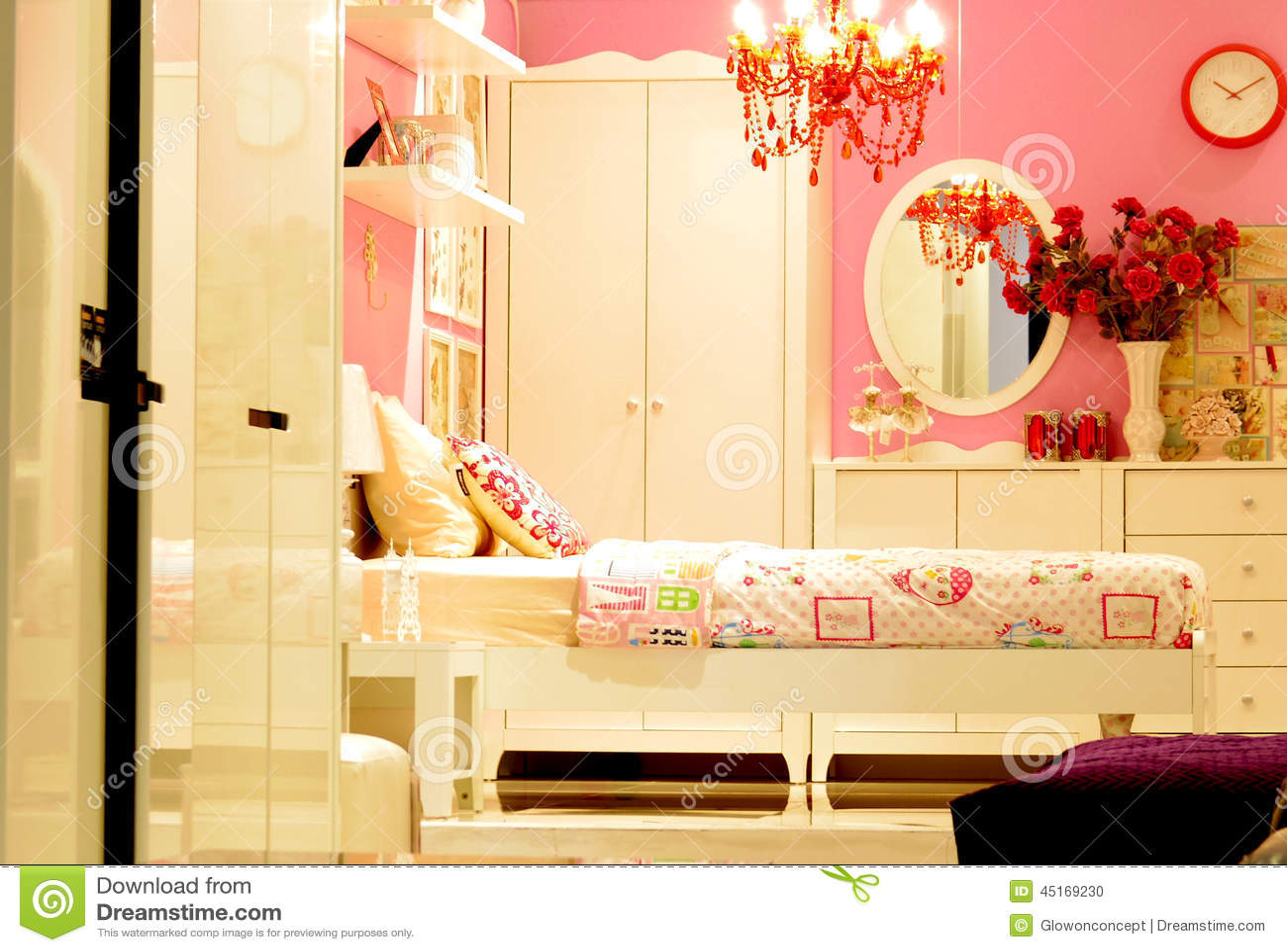 Design De Interiores Cor de rosa Do Quarto Do Vintage Foto  ~ Quarto Vintage Cinza